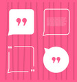 set of citation on pink striped background vector image