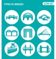 set of round icons white Types of bridges vector image vector image
