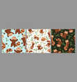 set seamless patterns with red pandas vector image vector image