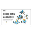 supply chain management isometric landing banner vector image vector image