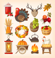 Thanksgiving day icons vector image vector image
