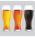 Three Glasses of different beer vector image vector image