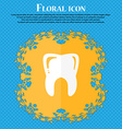 Tooth icon Floral flat design on a blue abstract vector image