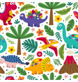 white seamless pattern with cute dinosaurs