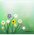 wild flowers on blurry green bokeh vector image