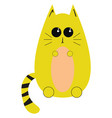 yellow cat on white background vector image vector image