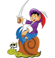 Young boy riding snail vector image vector image