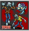 zombie comic set - cartoon zombie vector image