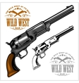 old American colt revolver with emblem wild west vector image