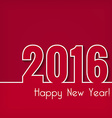 2016 Happy New Year design over red background vector image vector image