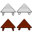 3D simple wooden footbridge black symbol vector image vector image