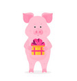 a funny pig holding a box with a gift tied with a vector image