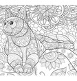 adult coloring bookpage a cute cat on the floral vector image vector image