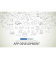 App Development Concept with Doodle design style vector image vector image