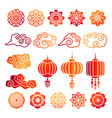 asian decorative elements collection vector image
