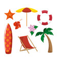 beach related objects design vector image