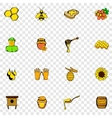 Beekeeping set icons vector image vector image