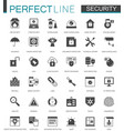 black classic security icons set protection vector image vector image
