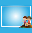 blue background template with boy and girl on log vector image vector image