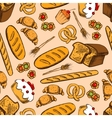 Bread and sweet pasty seamless pattern vector image vector image
