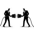 businessmen holding a plug and outlet vector image