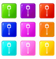 car key icons 9 set vector image vector image