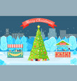 card winter park with fir-tree in city vector image vector image