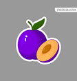 cartoon fresh plum isolated sticker vector image