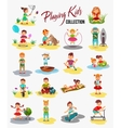 children playing isolated Cartoon kids vector image vector image