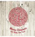 christmas ball on wooden vector image vector image