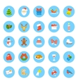 Christmas symbols flat round icons set vector image vector image