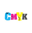 cmyk concept stamped word art vector image vector image