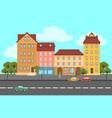 colorful summer city landscape flat concept vector image