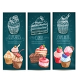 Cupcakes cakes pastries desserts banners vector image vector image