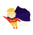 cute boy blondes super hero purposefully move the vector image vector image
