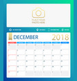 december 2018 calendar or vector image vector image