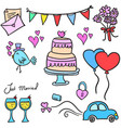 doodle of wedding element colorful vector image vector image