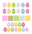 easter egg and seamless pattern set over white vector image vector image