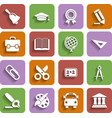 Flat School Icons Set With Shadow vector image vector image