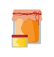Glass can full of honey jar and wooden stick vector image vector image
