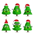 Green Christmas tree cartoon characters vector image vector image