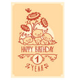 happy birthday greeting card with three vector image