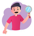 happy cartoon boy with magnifier on white vector image vector image