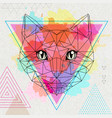 hipster polygonal animal cat on artistic vector image vector image