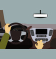 human hands driving a car vector image vector image