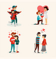 loving people flat set vector image