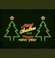 merry christmas card neon light vector image