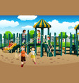multi-ethnic kids playing in the playground vector image