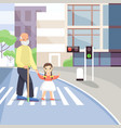 old man crossing street flat vector image