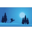Playing skier on the hill Christmas landscape vector image vector image